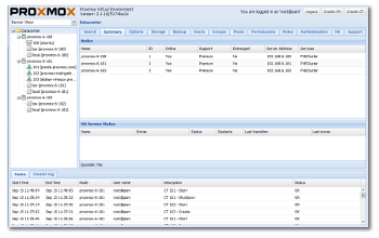 proxmox ve gui startpage with cluster